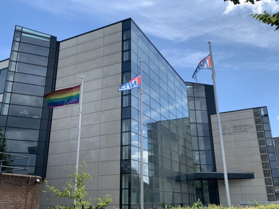 Pride flag outside Augustine House