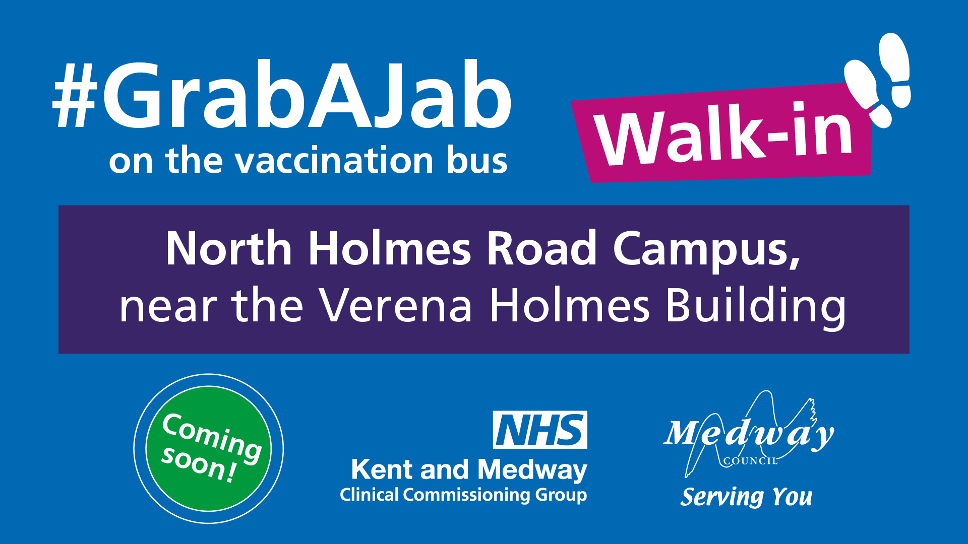 The vaccination bus is coming to Medway and Canterbury Campuses