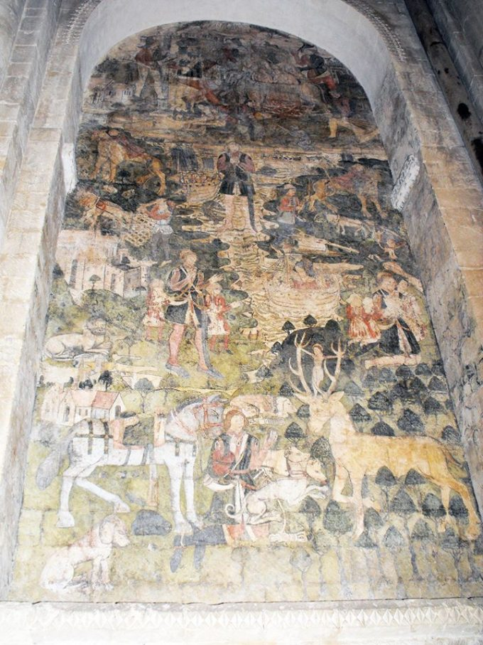 Wall painting of the Legend of St Eustace