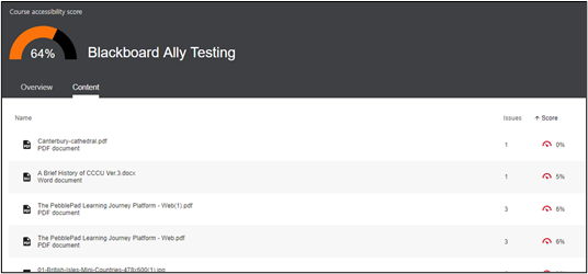 Screen image showing the 'Content' displayed when the Ally report is generated and the Content tab is selected.