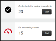 Screen image showing the 'what to choose first to fix' boxes that are displayed when the Ally report is generated.