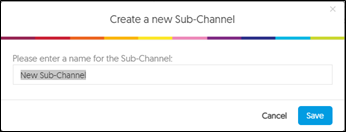 Screen image of the Create a new sub-channel window.