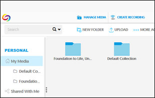 My Media Window  Image shows the newly created folder in the My Media menu