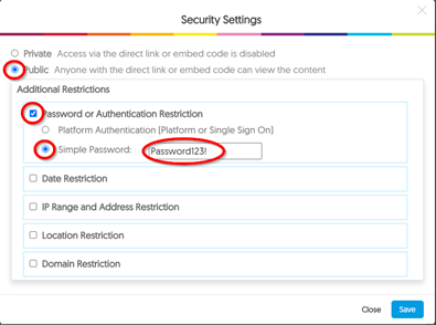 Screen image showing the Security Settings window in Recap, highlighting the options to select to enter a Simple Password to protect the recording.