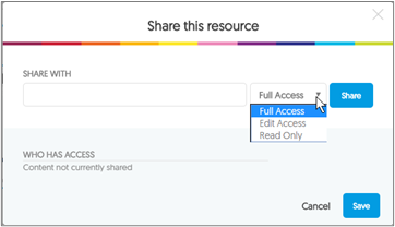 Share link window Window that appears when the share link has been selected.