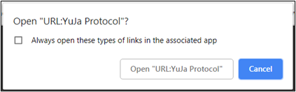 YuJa URL Protocol   Image shows the YuJa URL Protocol window that appears when the start recording option is selected.