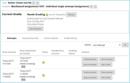 screen image of the grade details window in Blackboard Assignments