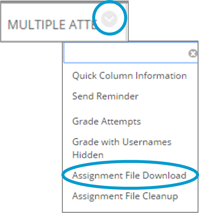 screen image showing the drop-down menu to select file download option in grade centre for a Blackboard Assignment