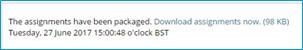 a screen image of the zip package message appearing when blackboard assignments download option has been selected