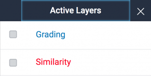 The active layers panel, showing the Grading and Similarity options, which can be enabled/disabled using the tick boxes to the left of each.