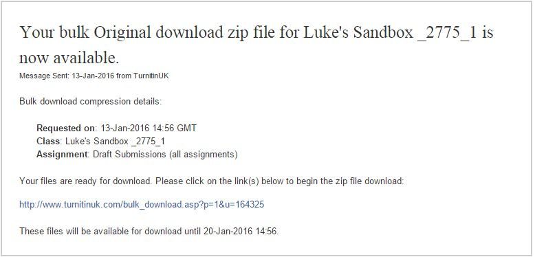 Information about the download available. Clicking the link at the bottom of the information will trigger the download.