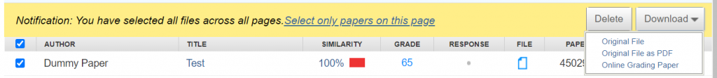 Once papers have been selected, a yellow notifications banner will appear with the option to 'Download' papers to the right.