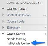 The 'Full Grade Centre' option, available in the course Control Panel > Grade Centre