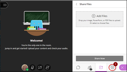 Screen image showing the Share Files option in a Collaborate session.