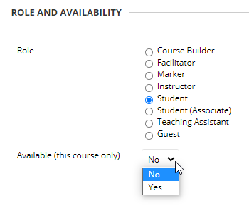 screen image showing the change availability in this course only drop down option