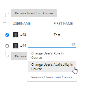 Screen image showing the change users availability drop down menu