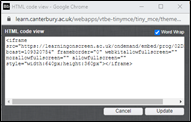 Screen image of the HTML window that appears in Blackboard when copying embed code.