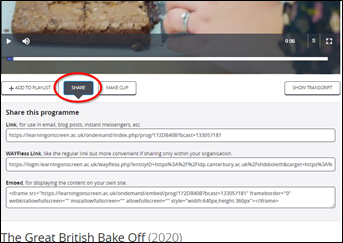 Screen image of a BoB programme highlighting the Share button underneath the viewing screen, with the 3 options of how to share.