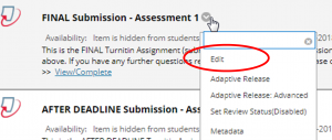 screen image showing the Edit option from the drop-down menu next to a pre-created Turnitin Assignment