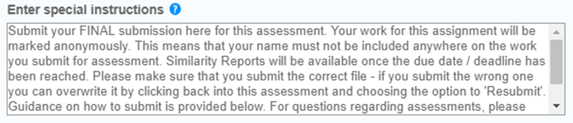 Screen image of the Special Instructions box found under the Optional Settings of a Final (On Time) Turnitin Assignment.