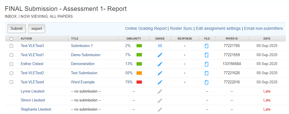Screen image showing a Turnitin Assignment InBox