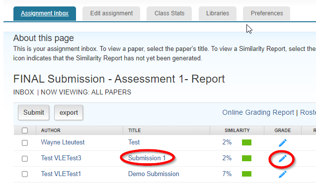 screen image showing the assignment inbox with the title of the submission highlighted as well as the pencil icon in the grade column