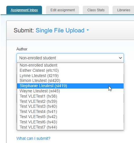 screen image showing the author drop down list