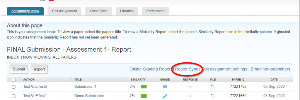 Screen image highlighting the Roster Sync link at the top of a Turnitin Assignment InBox