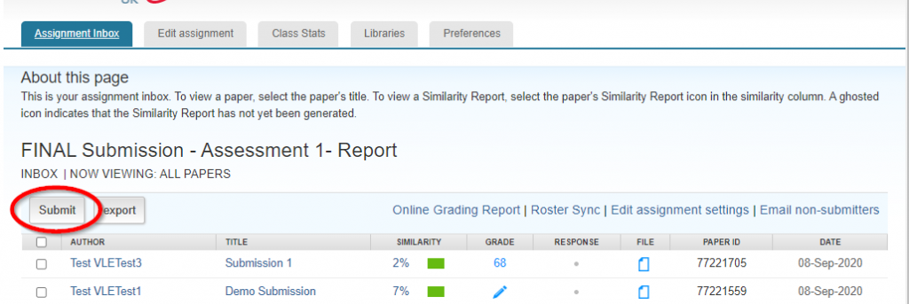 screen image showing the submit icon at the top of a Turnitin Assignment Inbox
