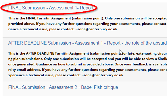 screen image showing a list of Turnitin Assignments accessed via the Control Panel in Blackboard