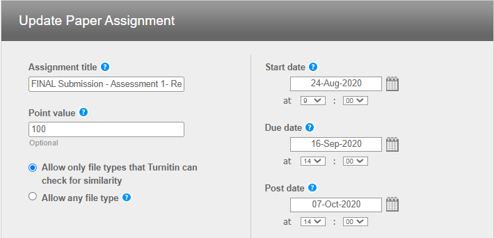 Screen image showing the Turnitin Update Assignment window to change the Name or dates of the assignment