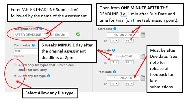 Screen image of initial settings for a NON standard After Deadline Turnitin Assignment which will attempt to return a Similarity Report.