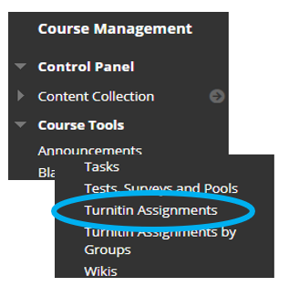 Screen image of the Blackboard Menu, highlighting the Turnitin Assignments link