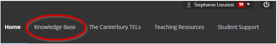 Screen image showing the monochrome banner in Blackboard for staff, highlighting the link to the Knowledge Base.