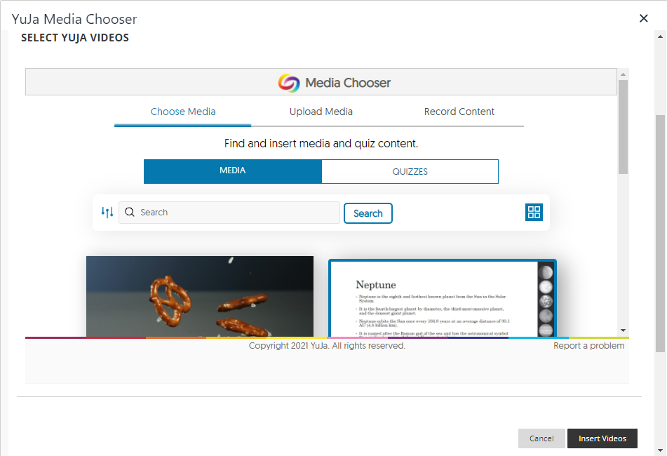 The YuJa Media Chooser screen whichh allows you to select media to embed.