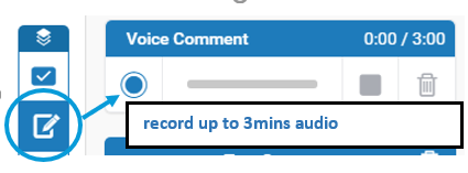 Screen image showing the voice recorder in the feedback studio of Turnitin