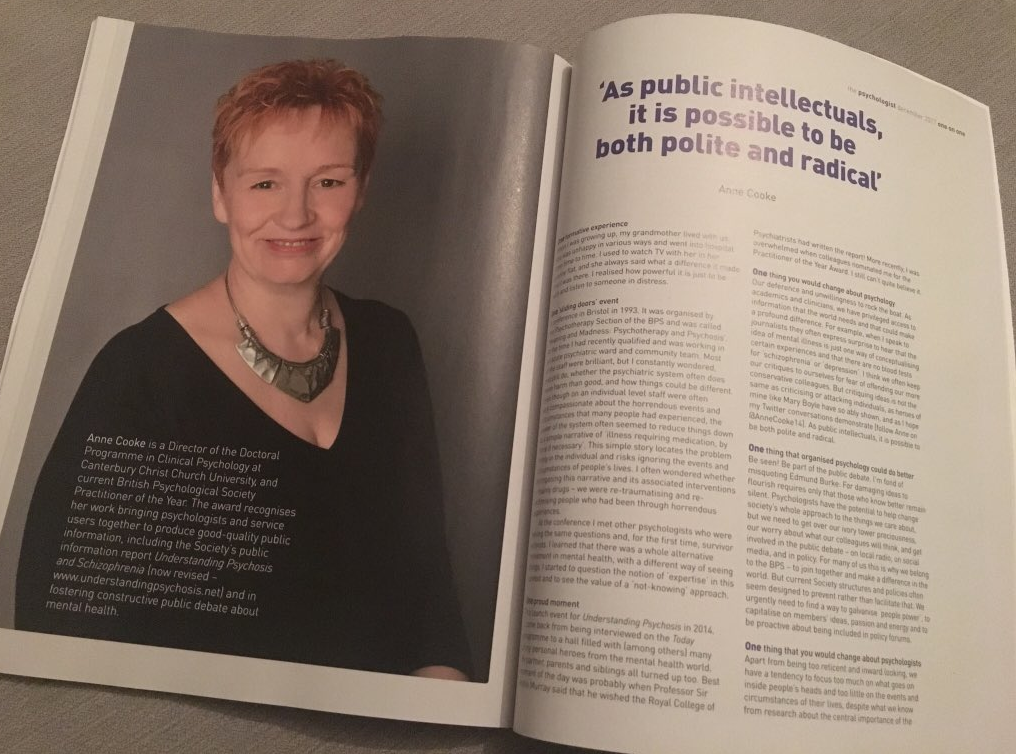 Anne Cooke interviewed in 'Psychologist' magazine