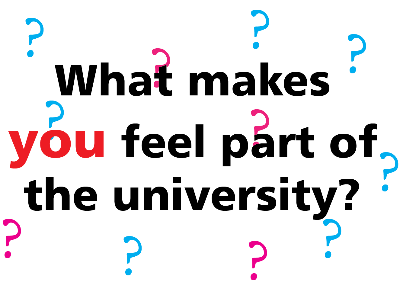 "We asked: ""What makes you feel part of the University community?"""