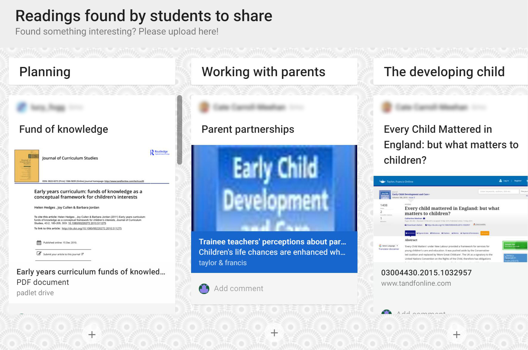 Padlet: Collaborative learning and dissemination