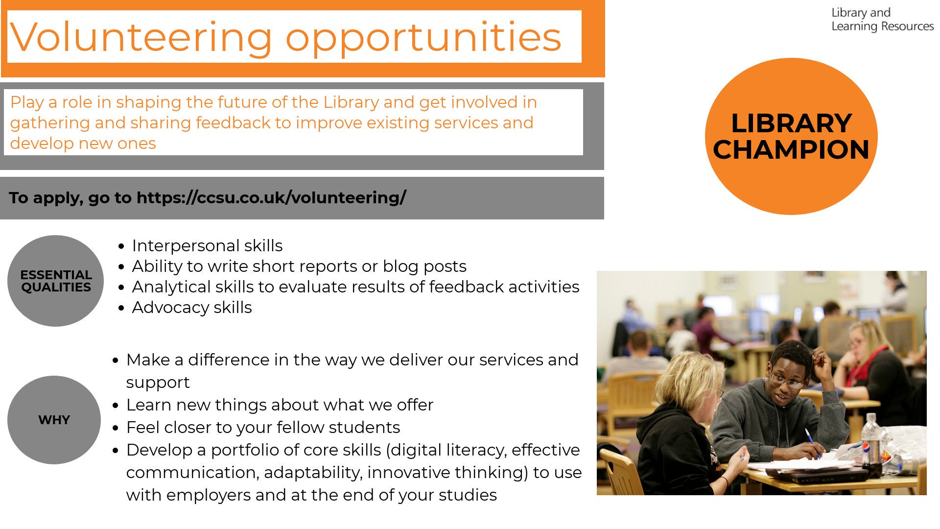 Looking for an interesting volunteering opportunity? Become a Library Champion